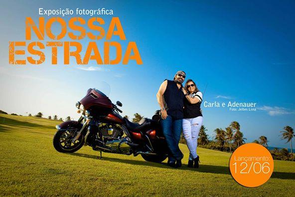 Adenauer e Carla. Super casal motociclista também presentes no ensaio de Jelbes Lima.