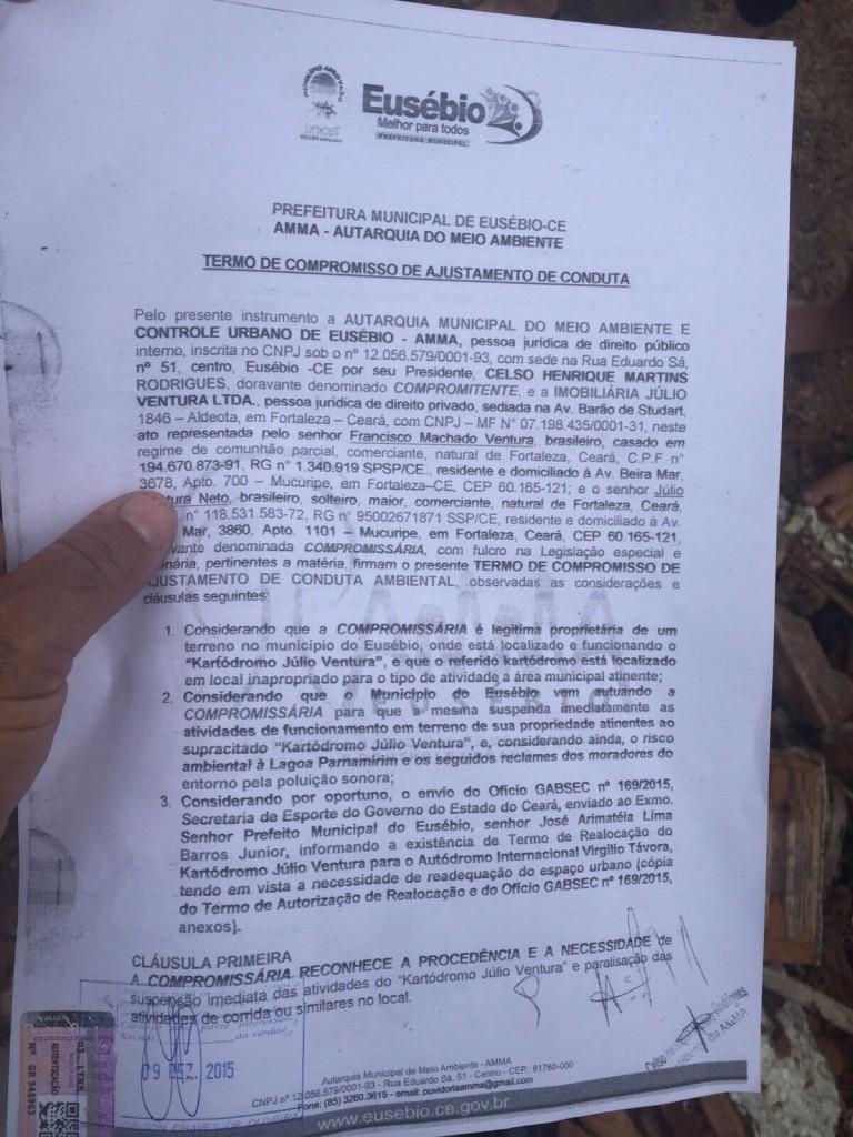 Documento que deu origem a demolição