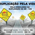 A FEDERAÇÃO MARANHENSE DE MOTO CLUBES realizou protesto pela imediata duplicação da BR-135